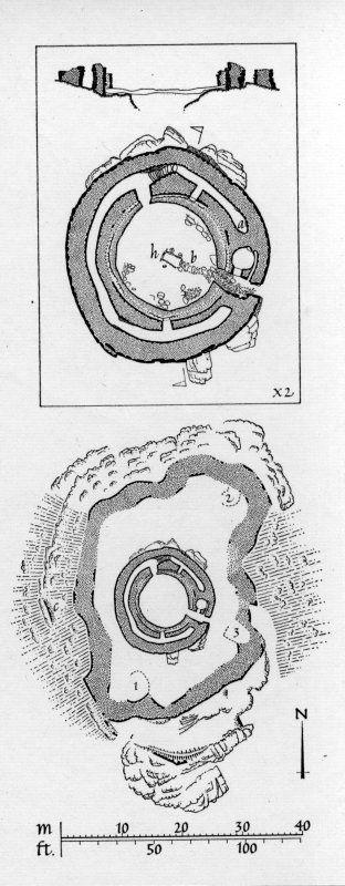 Plan and section through broch.  Argyll Inventory fig. 91.