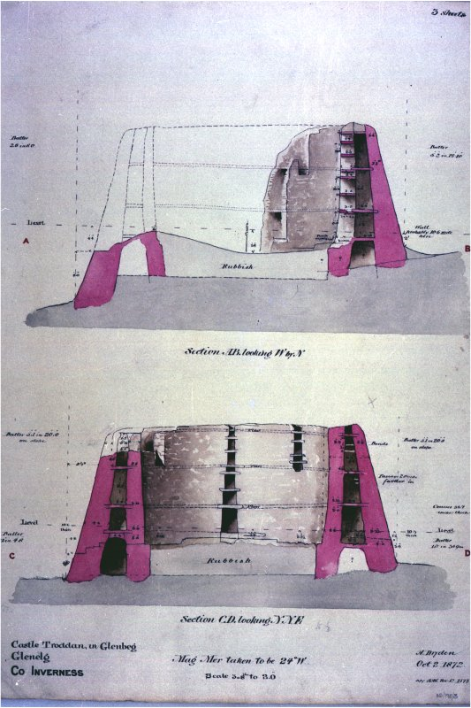 Sections through Dun Troddan broch, looking NW and NNE. Signed H Dryden October 2 1872 copy A H K Nov 12 1873.  Copied in B&W and colour, 1993. Stored in PRINT ROOM. Photographic copy of a drawing.