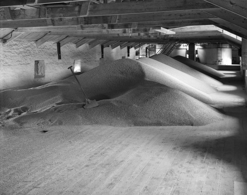 Ardbeg Distillery. Interior, view of barley-loft of East malt-barn.