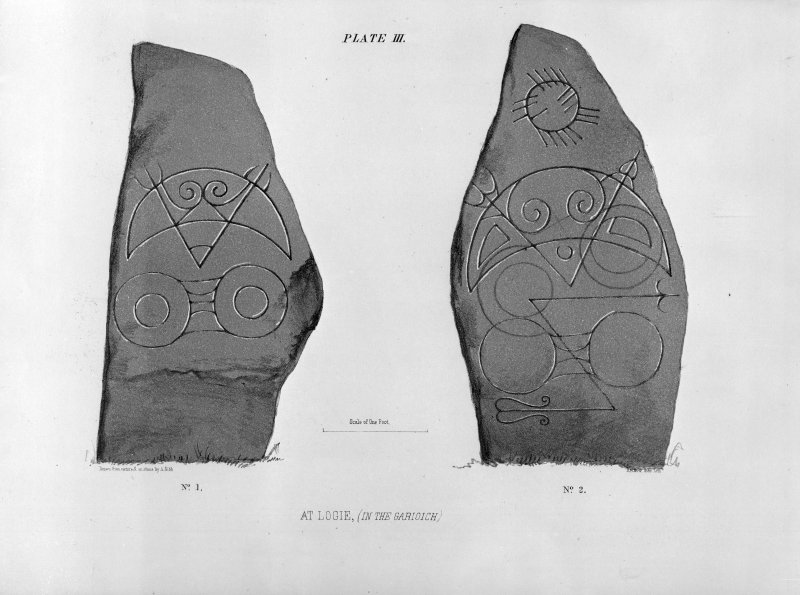 Logie Elphinstone stones (nos. 1 and 2) from J Stuart, The Sculptured Stones of Scotland, i, pl.3.
