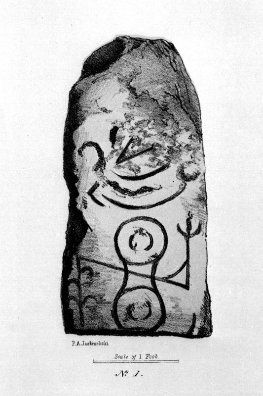 Digital image of Rhynie, Plough Inn, symbol stone (no.2), from J Stuart, The Sculptured Stones of Scotland, i, pl.7