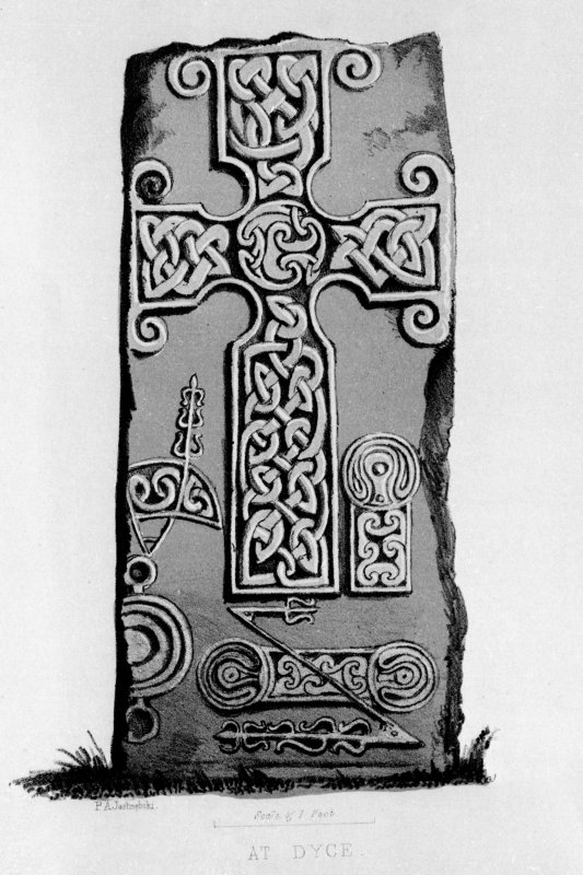 The Dyce Class II cross-slab, from J Stuart, The Sculptured Stones of Scotland, i, pl.9