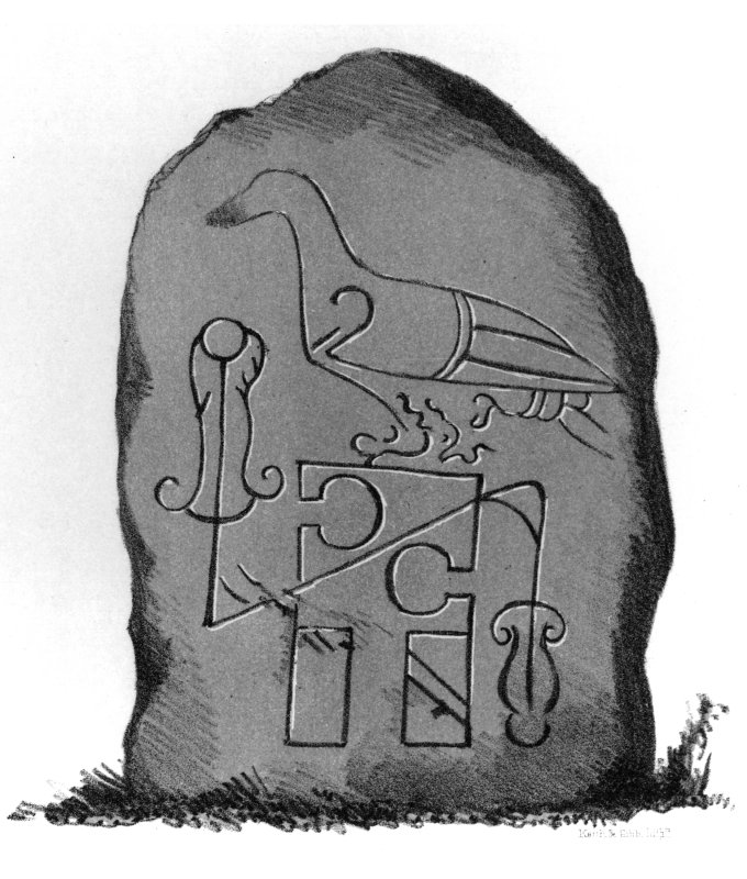 Tyrie symbol stone. From J Stuart, The Sculptured Stones of Scotland, vol. i, 1856, plate xiii.