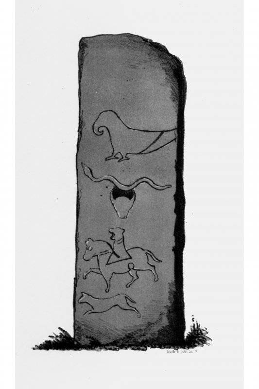 Mortlach, 'The Battle Stone' from J Stuart, The Sculptured Stones of Scotland, i, pl.14