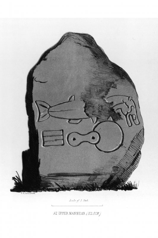 Upper Manbean stone from J Stuart, The Sculptured Stones of Scotland, i, pl.17.