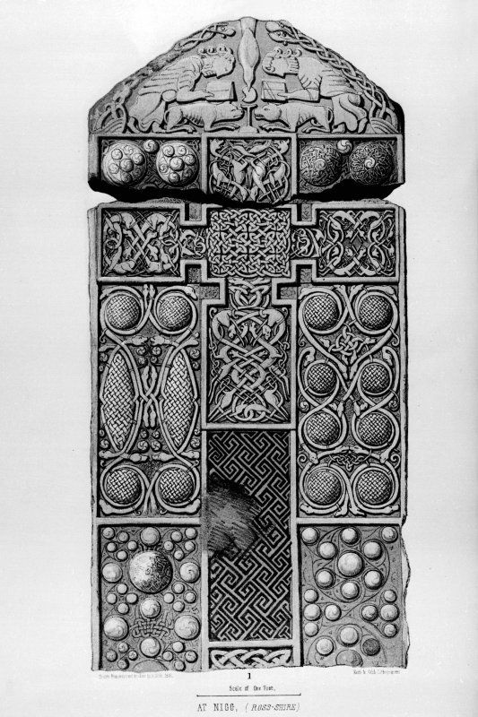 Nigg, Pictish cross-slab. Face of cross-slab. From J Stuart, The Sculptured Stones of Scotland, i, pl. xxviii.