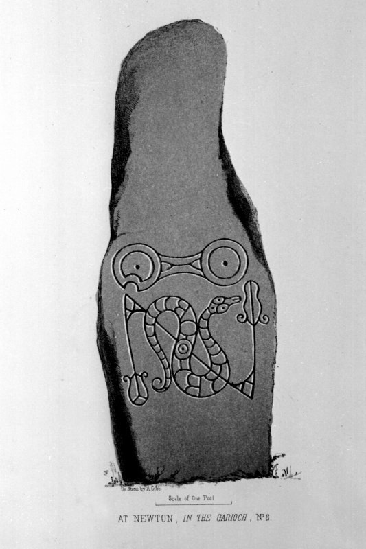 Newton House symbol stone. From J Stuart, The Sculptured Stones of Scotland, i, pl. xxxvii.