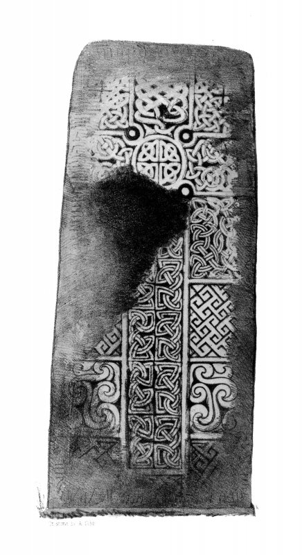 The Golspie cross-slab. From J Stuart, The Sculptured Stones of Scotland, i, pl. xxxiv.
