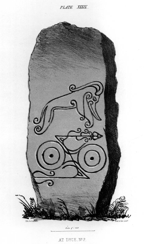 Dyce symbol stone. From J Stuart, The Sculptured Stones of Scotland, i, pl. xxxix.