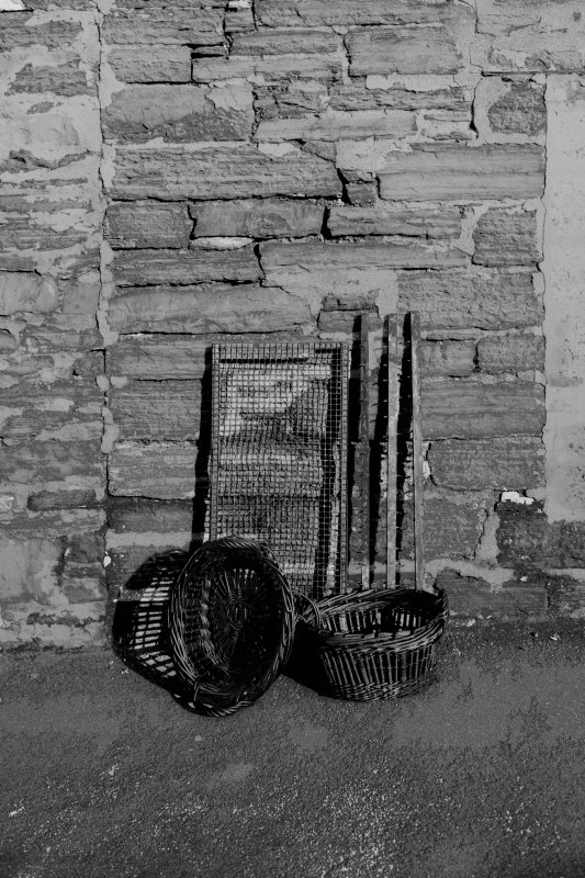 Details of tenter sticks, later fish trays and basket measures for oak chip fires, Kippering house, Wick