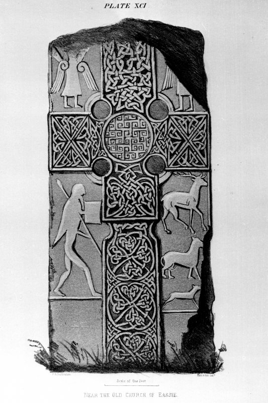 Eassie, Pictish cross-slab from J Stuart, The Sculptured Stones of Scotland, vol. i, pl.91.