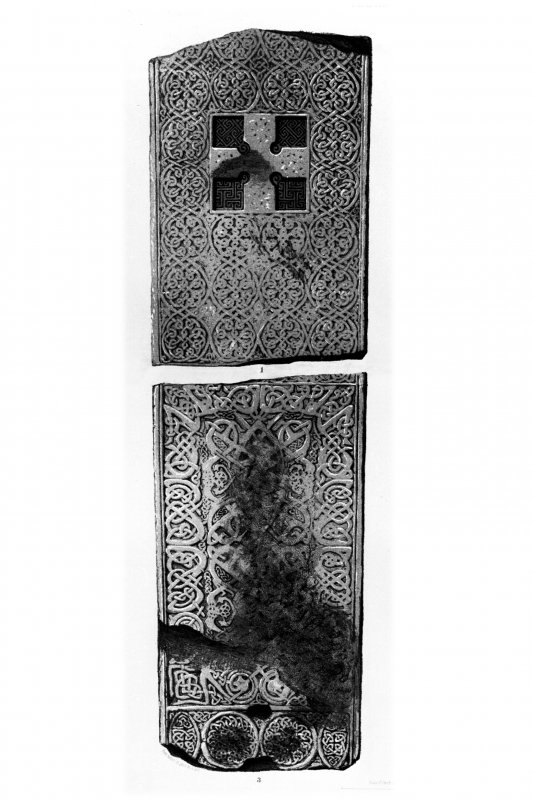 Rosemarkie cross-slab. From J Stuart, The Sculptured Stones of Scotland, i, pl. 105 &106.