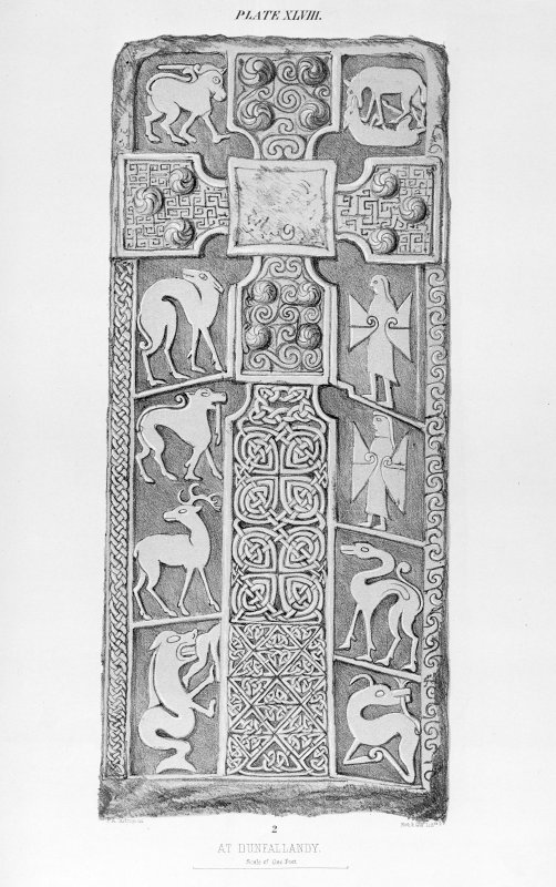 Dunfallandy, Pictish cross-slab. From J Stuart, The Sculptured Stones of Scotland, i, pl.xlviii.