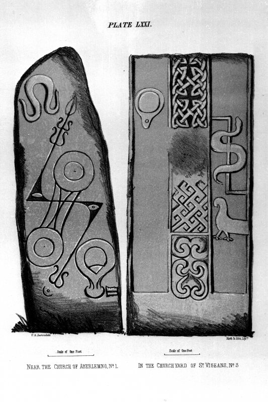 Pictish Symbol stone,(Aberlemno no.1), and face of Pictish cross-slab, (St Vigeans no.2).