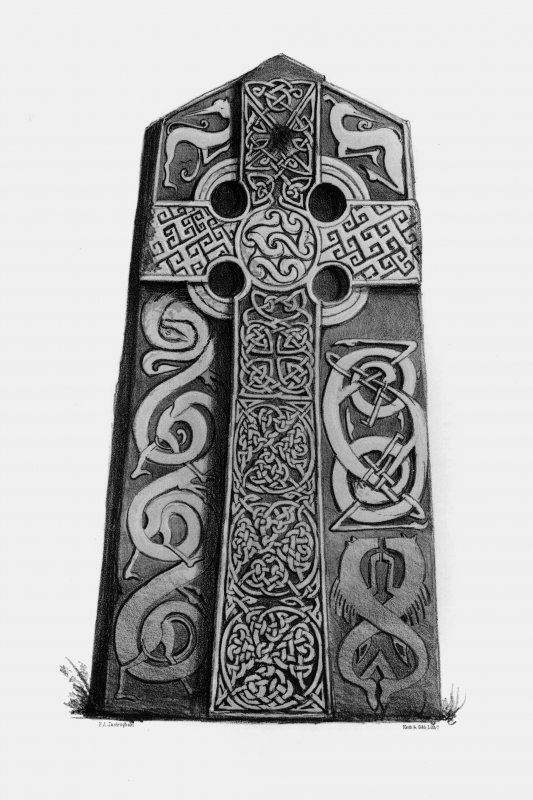 Aberlemno  Aberlemno no 2, the Churchyard Stone From J Stuart, The Sculptured Stones of Scotland, i, pl.lxxviii.