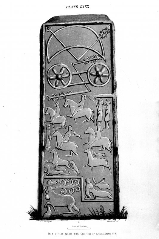 Aberlemno stone no.3. Reverse of cross-slab. From J Stuart, The Sculptured Stones of Scotland, i, pl. lxxx.