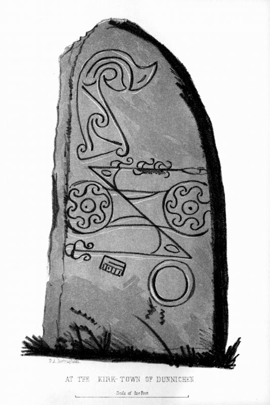 Dunnichen symbol stone, from J Stuart, The Sculptured Stones of Scotland, i, pl. 92.
