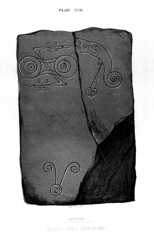 Trusty's Hill, Anwoth, Pictish symbols from J Stuart, The Sculptured Stones of Scotland, i, pl. 97