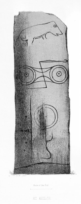 Keillor symbol stone. From J Stuart, The Sculptured Stones of Scotland, i, pl. cxii. Filed under NO23NE 32.