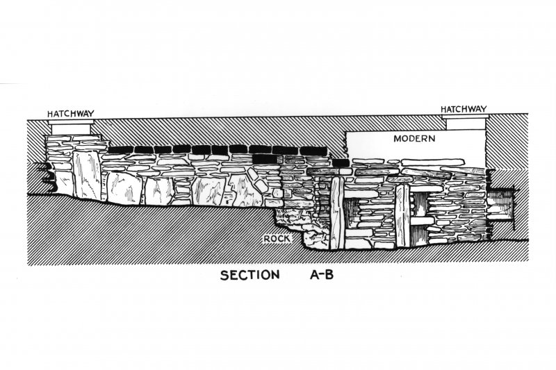 Section of Rennibister souterrain. Scan of photographic copy.