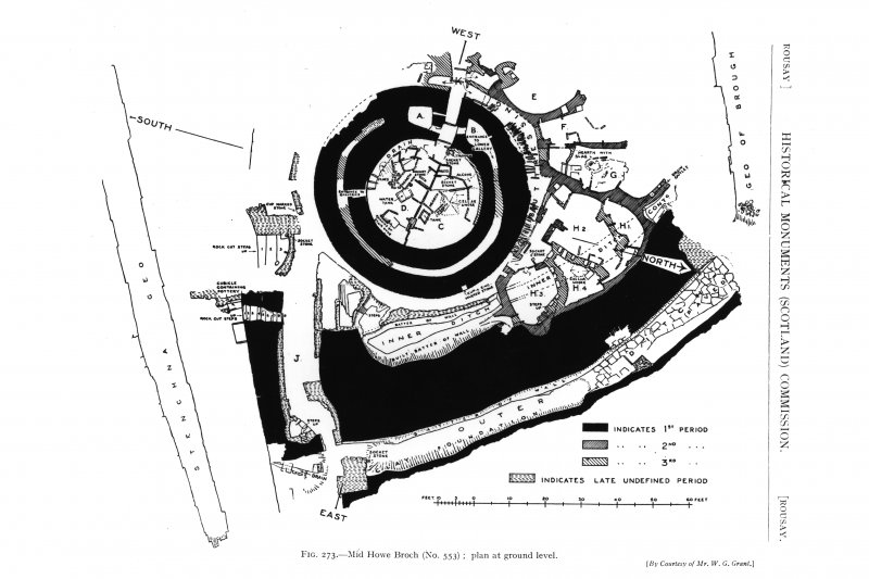 Plan of Midhowe broch at ground level.  Inventory figure 273