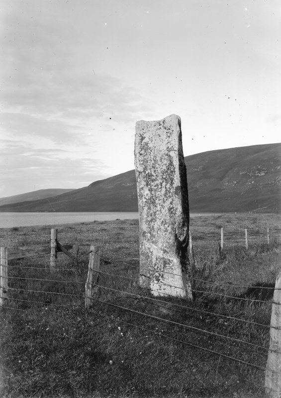 View of standing stone, Loch of Tingwall.