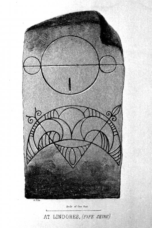 The Abdie, or Lindores, symbol stone. From J Stuart, The Sculptured Stones of Scotland, i, pl. 102.