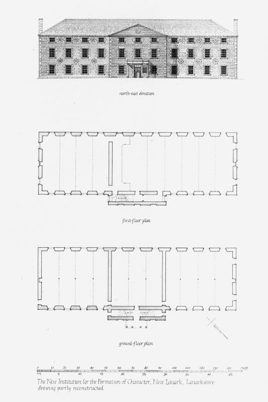 New Lanark, The Institute. Ground Floor and First Floor Plan. North East Elevation (partly reconstructed). Titled: 'north-east elevation' 'first-floor plan' 'ground-floor plan' 'The New Institution for the Formation of Character, New Lanark, Lanarkshire drawing partly reconstructed'.