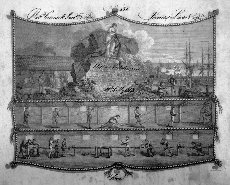 View of Greenock and Port Glasgow Ropemakers Society Certificate dated 30th July 1813, showing the ropemaking process together with a view of the harbour.