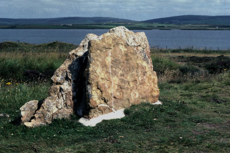 Photograph of stone with runes at the Ring of Brodgar.
