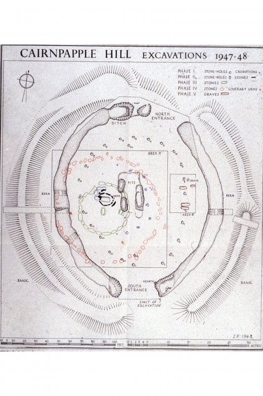Cairnpapple Hill: plans of excavations 1947-8