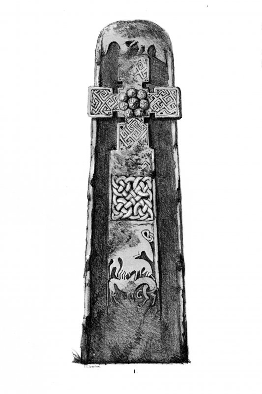 Fowlis Wester cross-slab. From J Stuart, The Sculptured Stones of Scotland, i, pl. lx.