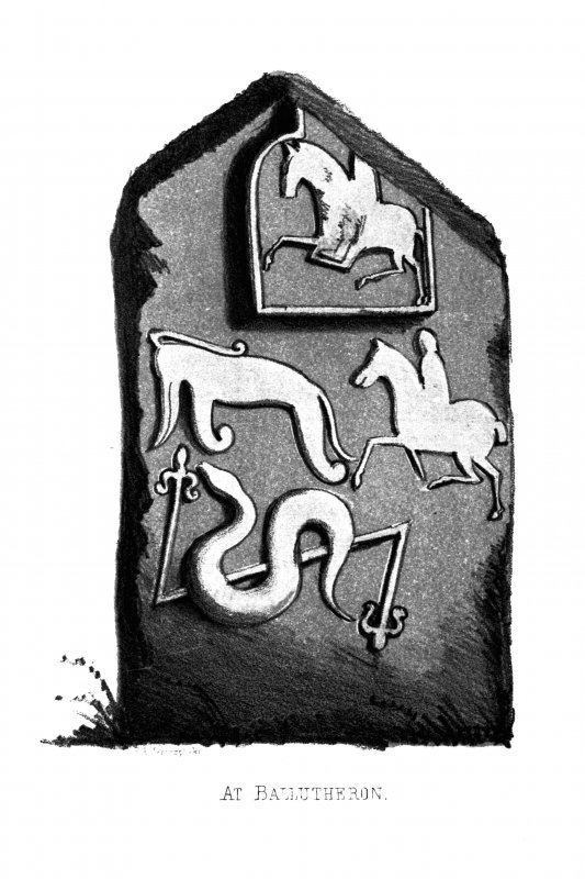 The Balluderon cross-slab. From J Stuart, The Sculptured Stones of Scotland, vol. i, 1856,  pl. lxvii.