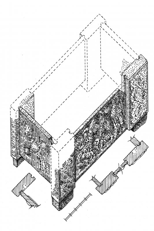 Axonometric view of the reconstruction of the St Andrews Sarcophagus, with plans of the joints.
