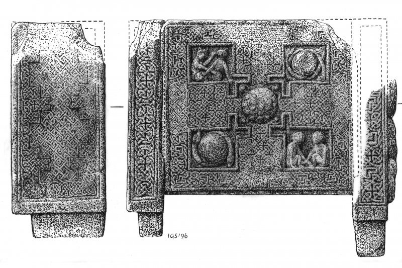 Drawing of the back and side panels of the St Andrews Sarcophagus.  Digital image of DC/37627.