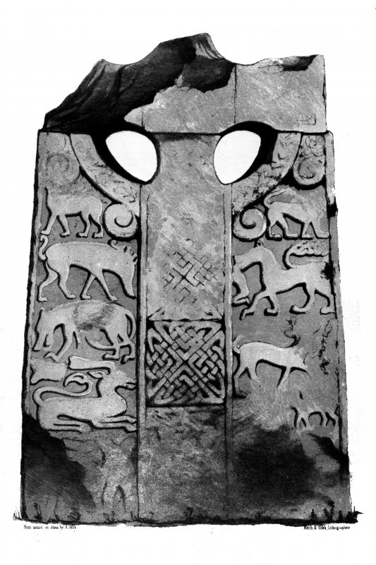Moncrieff House, 'Bore Stone of Gask' from J Stuart, The Sculptured Stones of Scotland, i, pl. 104