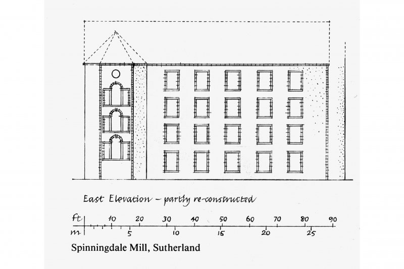 East Elevation-partly re-constructed;  Ground Floor Plan-as existing Drawn 1984 on basis of survey 1966. Insc. 'GDH'
