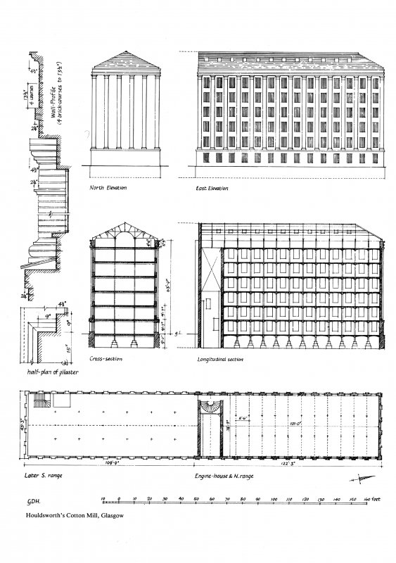 Glasgow, 87-105 Cheapside Street, Houldsworth Cotton Mill. Plan of mill 'as completed', sections, and elevations of the earlier fireproof range.. Included North Elevation, East Elevation, Cross-Sectio ...