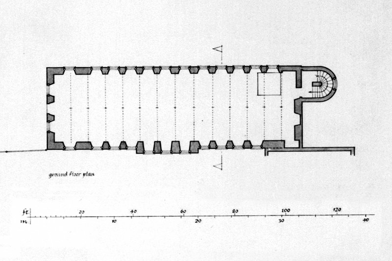 Elevation, plans and cross-section of Bell Mill and gazebo.
