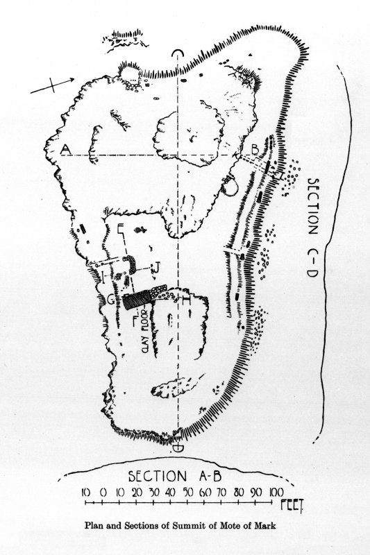 Mote of Mark - plan and section