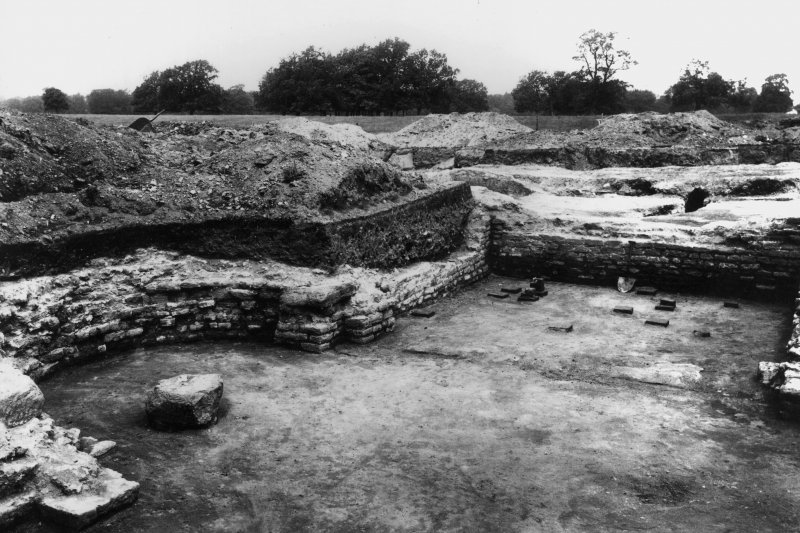 Excavation photograph showing the hypocaustium no. 4 and no. 5, looking NW.