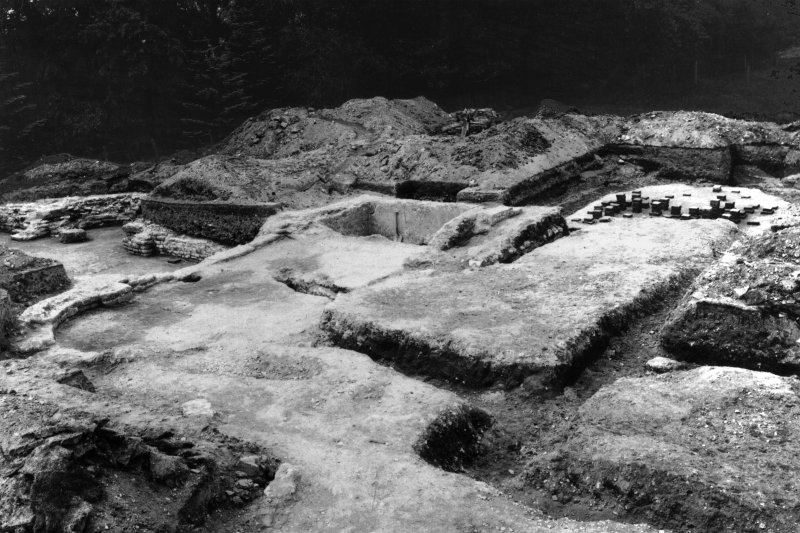 Excavation photograph: residence with hypocaust, bath etc, looking SW.