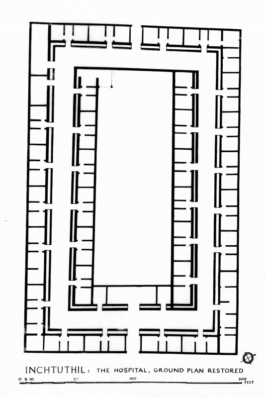 Photographic copy of a drawing showing the hospital ground plan restored. Inchtuthil publication fig 15, page 94.