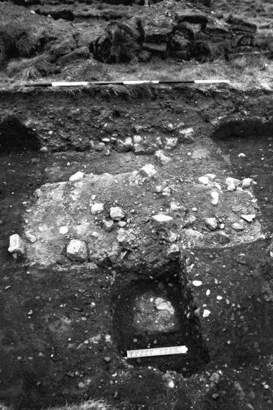 Excavation photograph showing the E gate, end of wall, with tower post-hole.