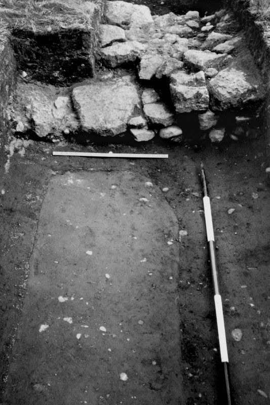 Excavation photograph showing wall N of E gate with trench of excavations of 1901 visible.