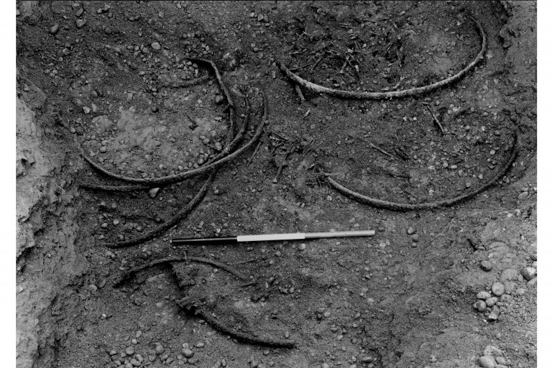 Excavation photograph showing the tyres and nails in pit 1 of fabrica.