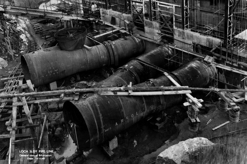 Loch Sloy Pipeline: view of penstock bifurcation, November 1949. Arrol secured the contract for the pipelines and hillside grading, as well as the steelwork and cranes for the Power Station