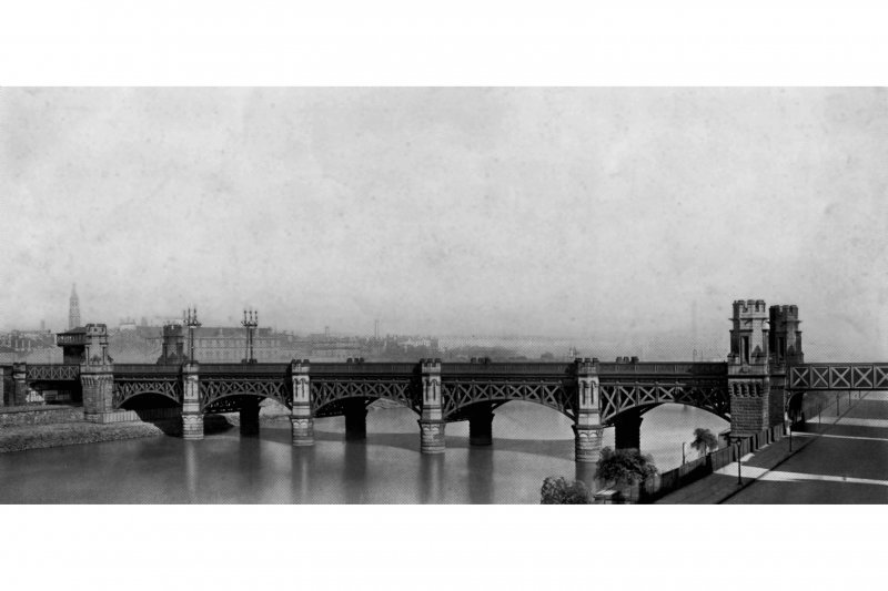 View of the Union Railway Bridge, Glasgow c. 1900, for which Arrol completed the steelwork
