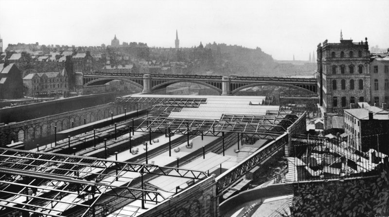 General view (enhanced for publication) of Waverley Station and the North Bridge c.1908. Sir William Arrol and Company carried out the work on the North Bridge to a design by Blyth and Westland of Edinburgh