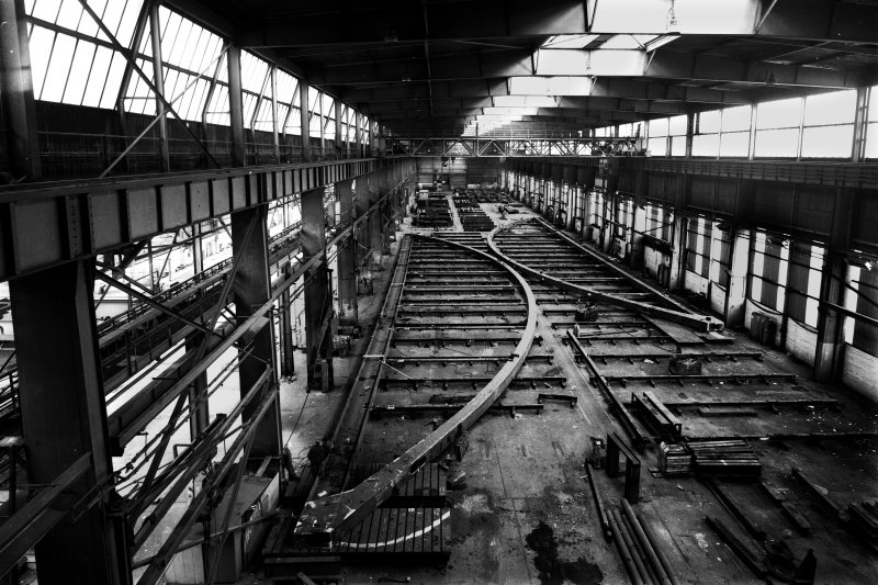 Elevated from south within the erecting shop of Arrol's Dalmarnock Iron Works in Glasgow, showing the new Bonhill Bridge being assembled